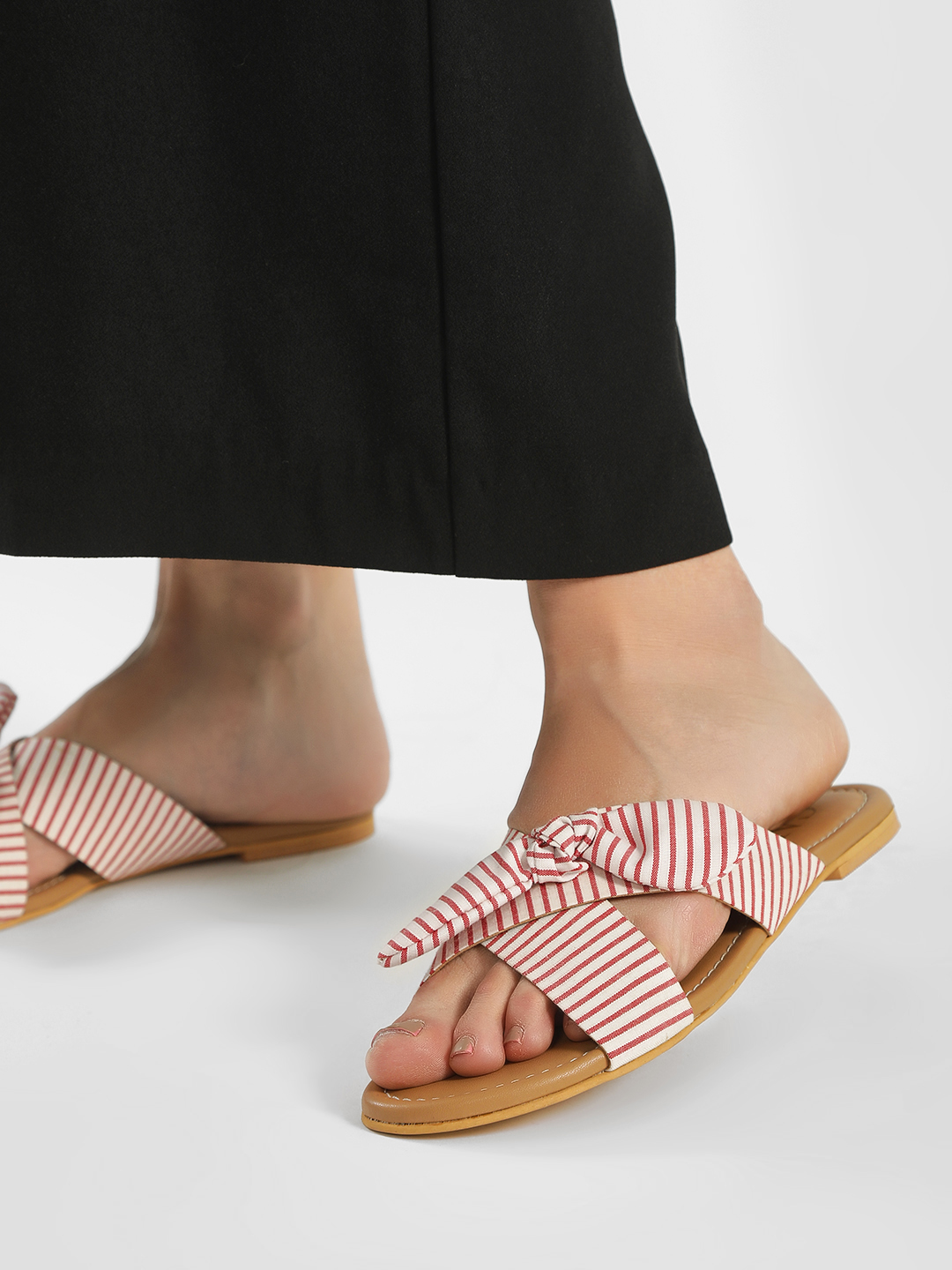 CAi Red Striped Bow Detail Flat Sandals 1