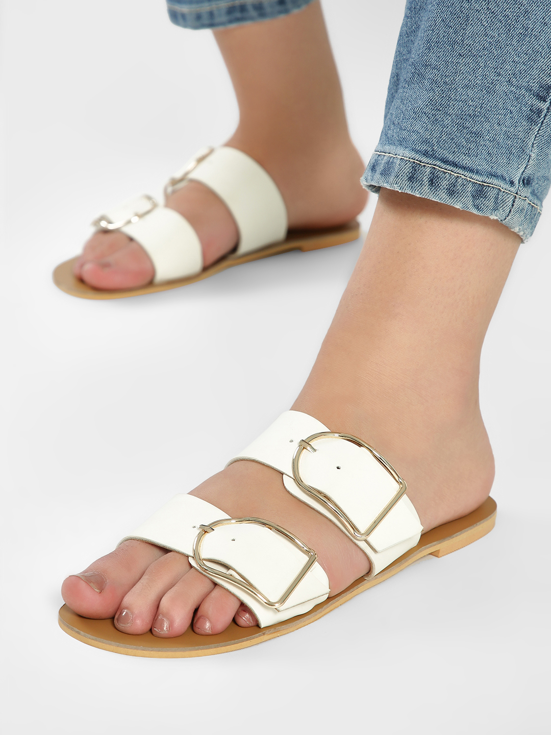 CAi White Double Buckle Strap Slides 1