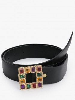 Style Fiesta Square Gem Embellished Buckle Belt