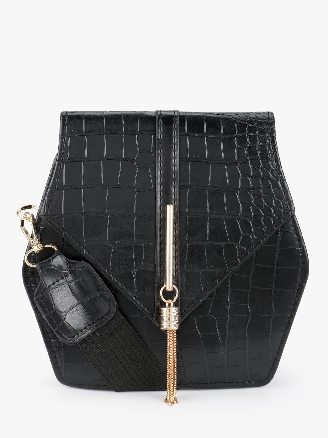 Style Fiesta Black Crocskin Hexagonal Sling Bag 1