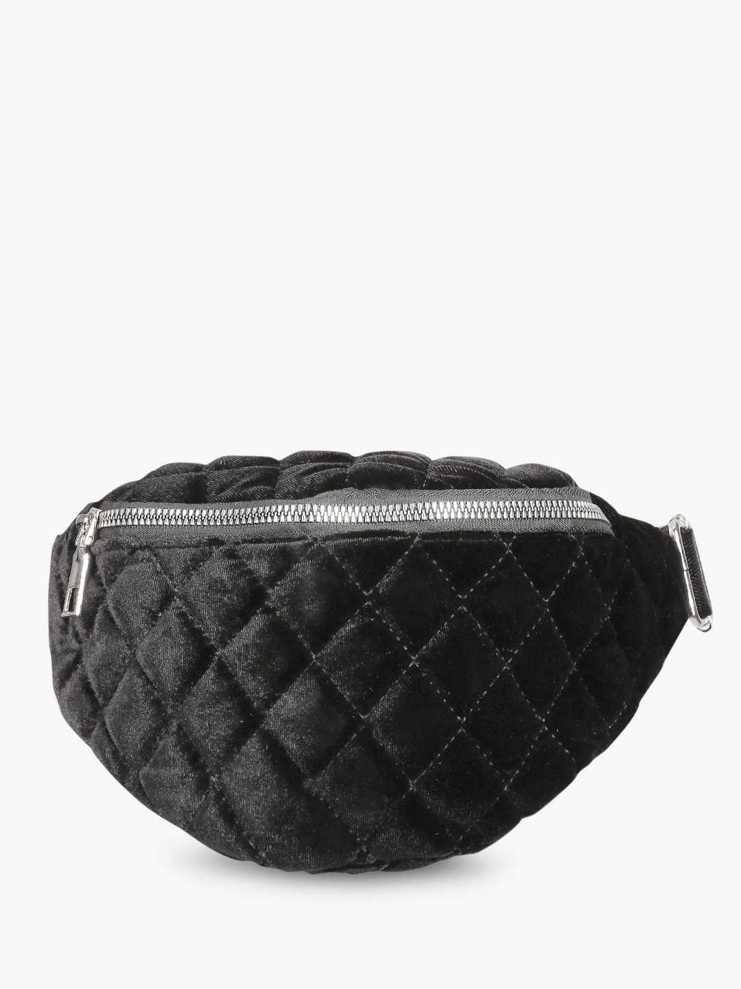 Style Fiesta Black Velour Quilted Bum Bag 1