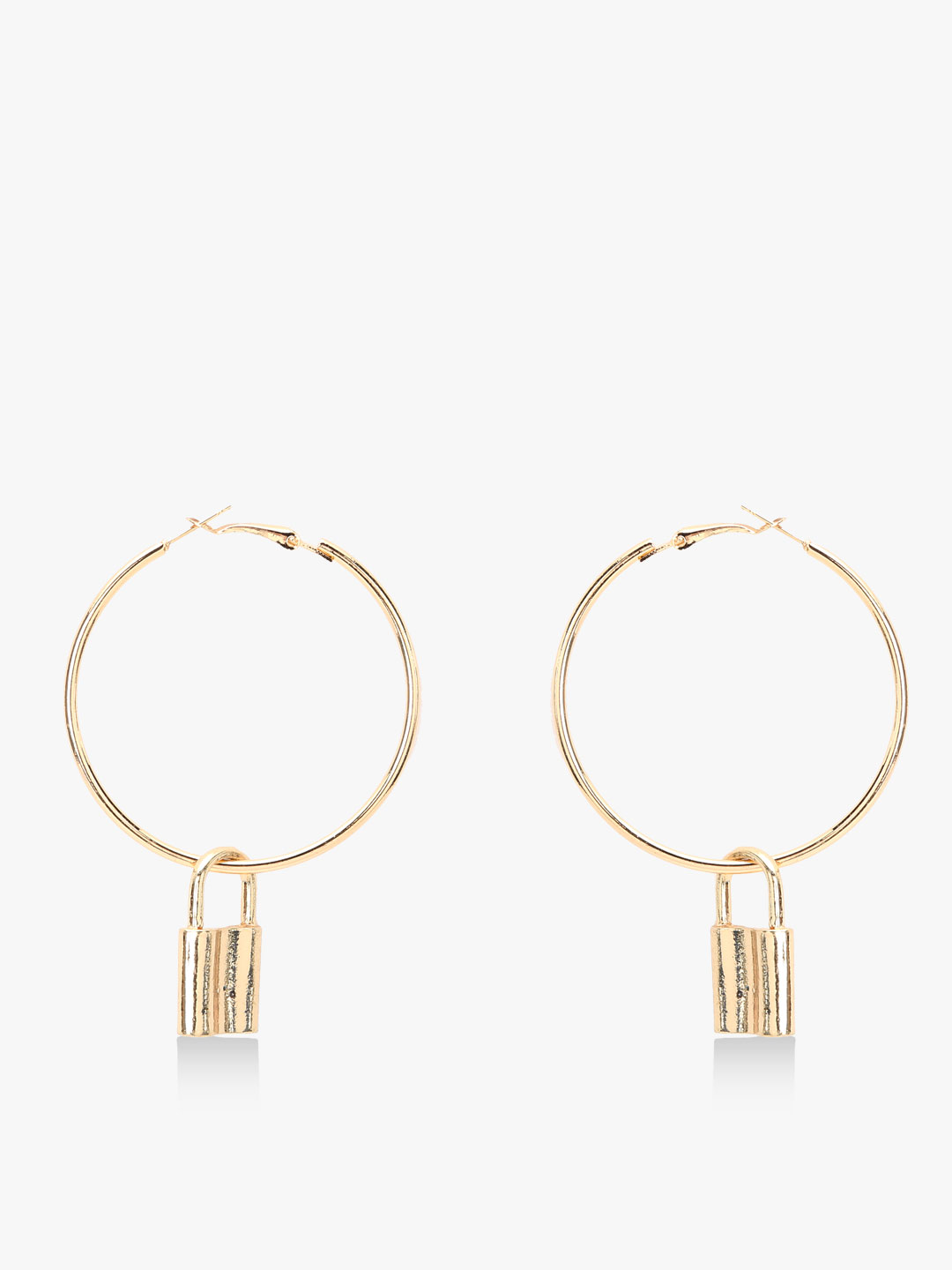 Style Fiesta Gold Lock Charm Layered Hoops 1