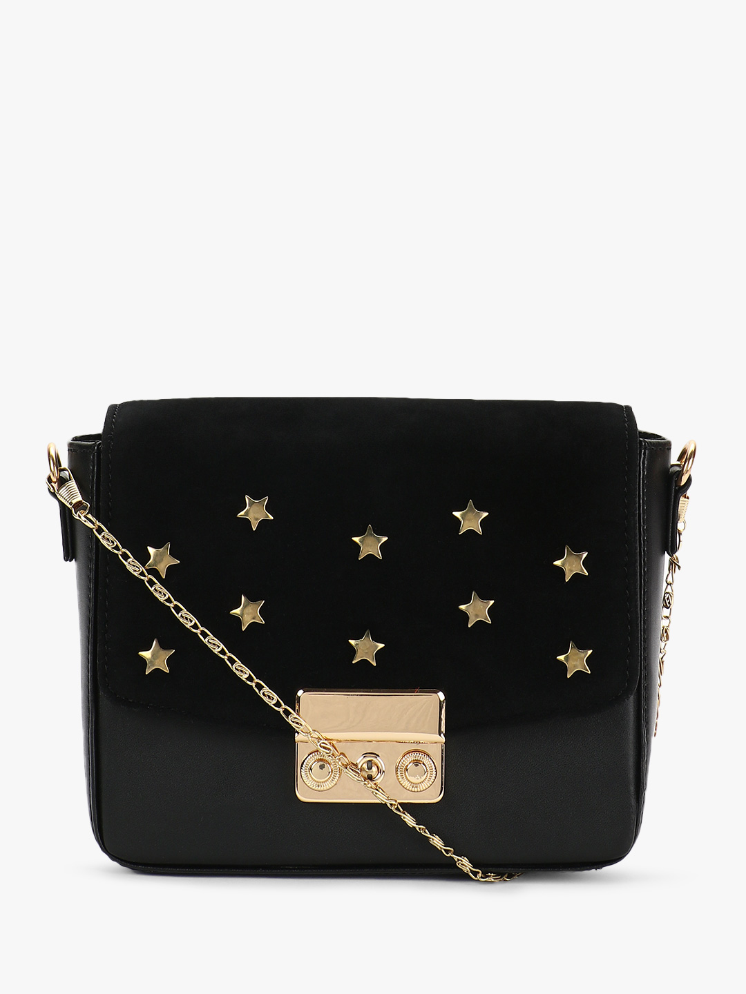 Gusto Black Star Embellished Suede Sling Bag 1