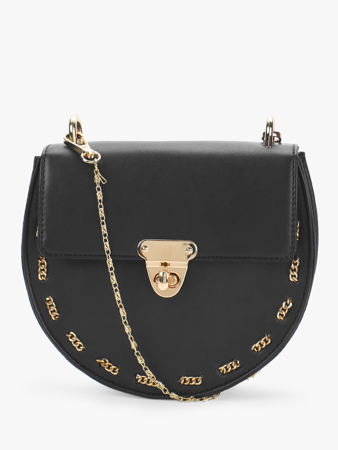 Gusto Black Structural Chain Detail Sling Bag 1