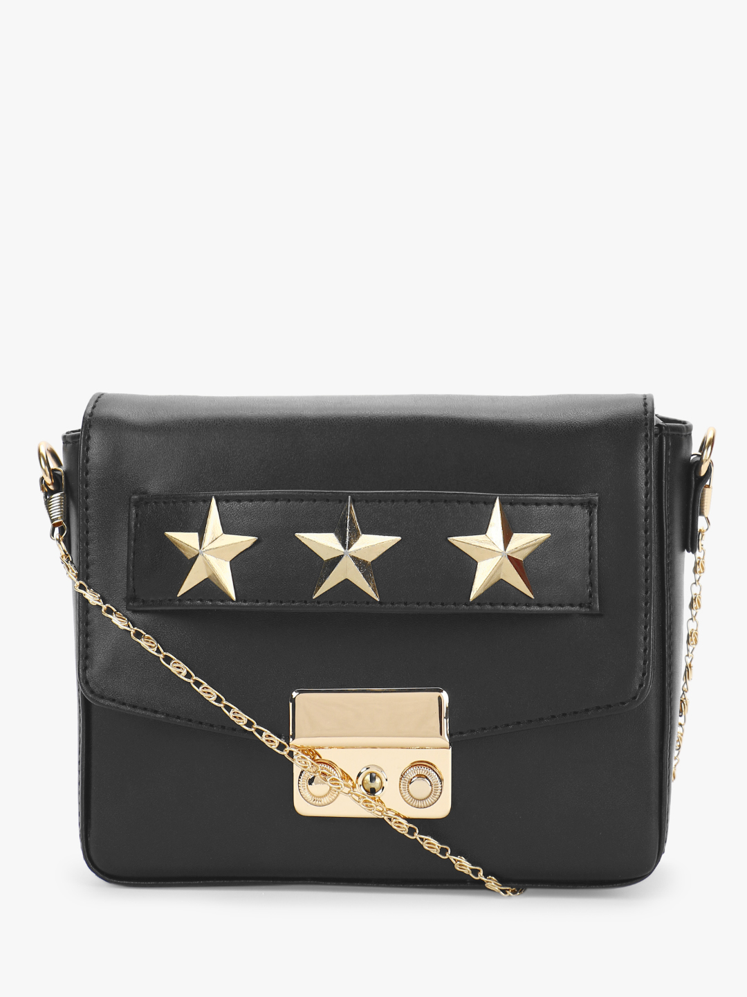 Gusto Black Star Studded Sling Bag 1