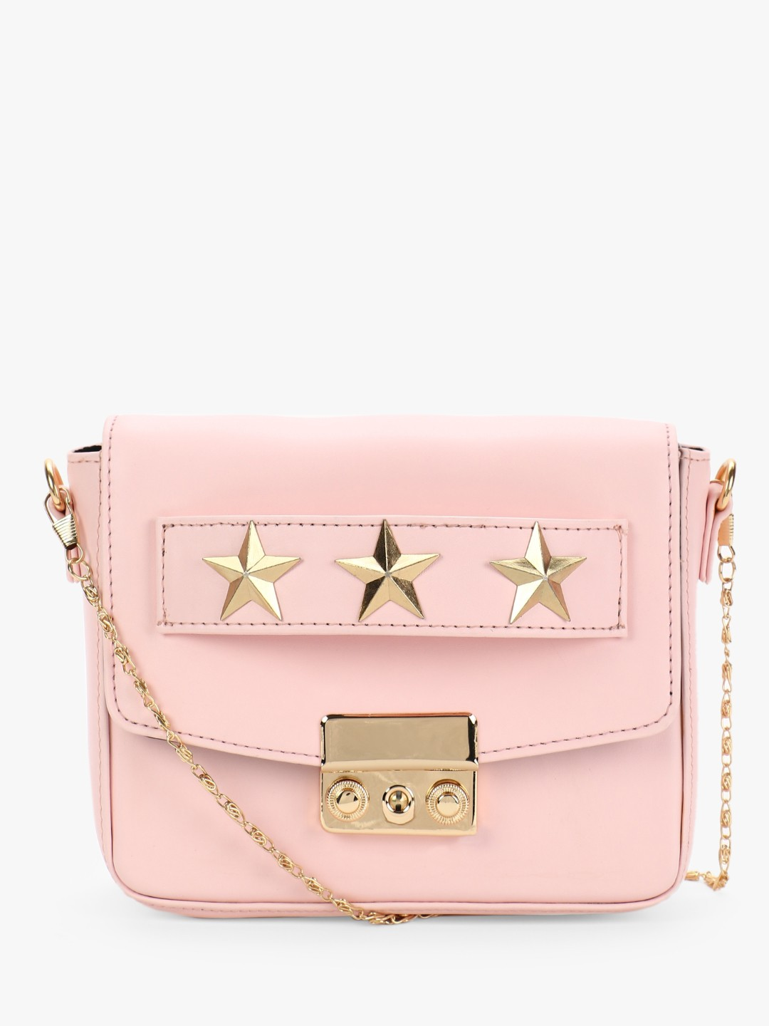 Gusto Pink Star Studded Sling Bag 1