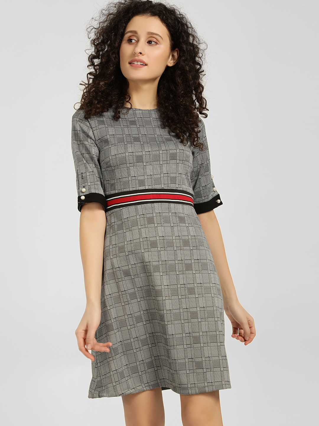 KOOVS Grey Check Contrast Tape Skater Dress 1