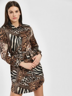 Quiz Animal Print Shirt Dress