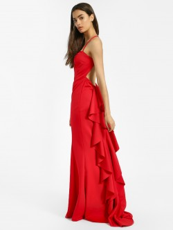 Quiz Ruffled Halter Neck Maxi Dress
