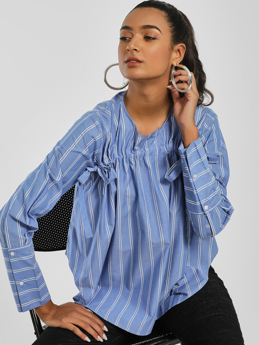 Sbuys Blue Striped Tie-Up Blouse 1