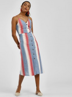 Sbuys Striped Button Down Midi Dress