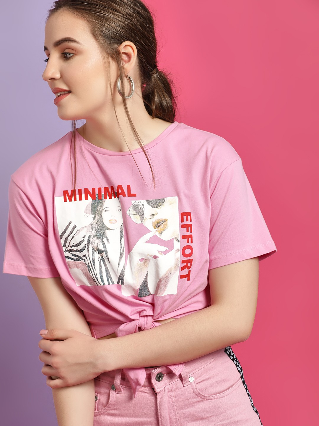 KOOVS Pink Collage Graphic Print Cropped T-Shirt 1