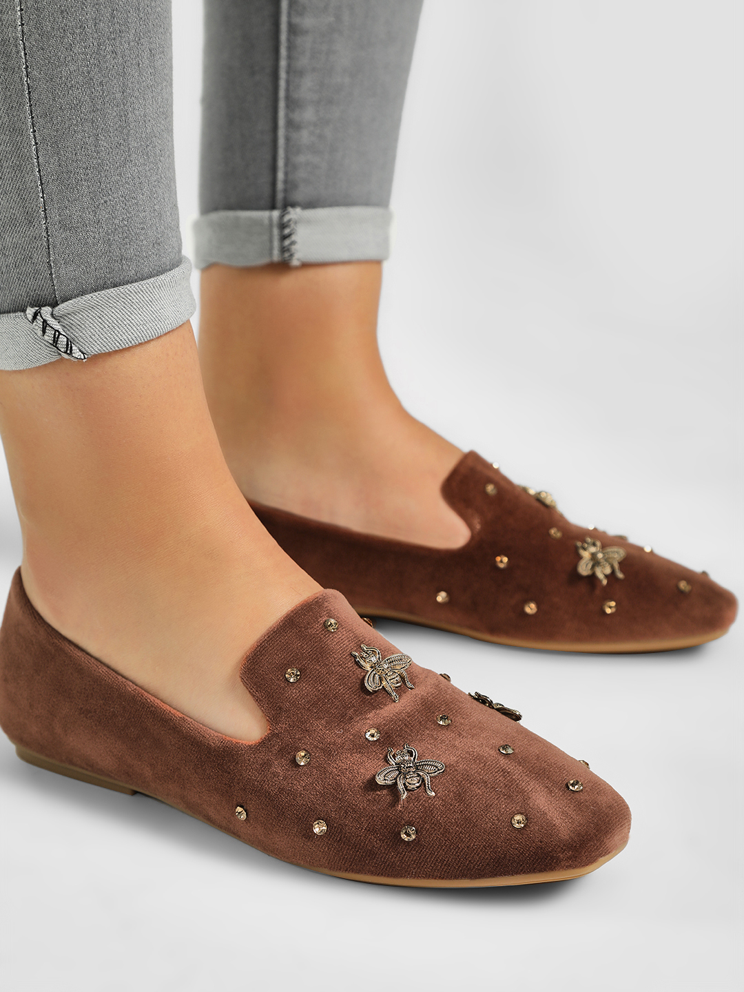 My Foot Couture Brown Suede Bee Embellished Flat Shoes 1