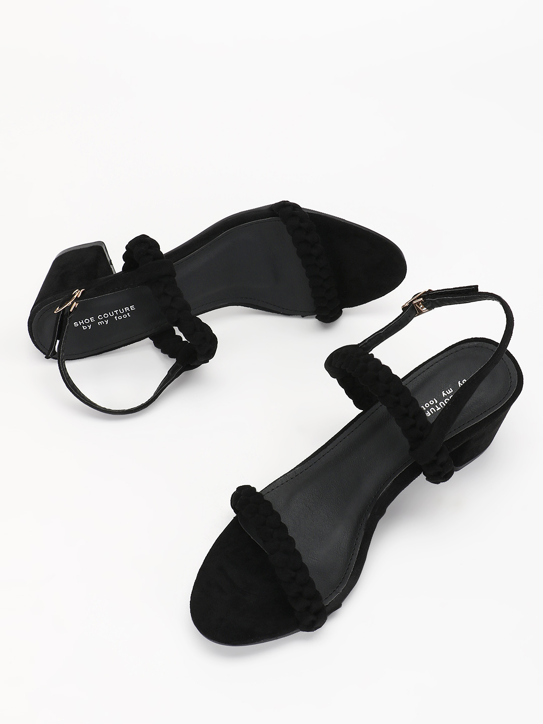 My Foot Couture Black Braided Strap Block Heeled Sandals 1