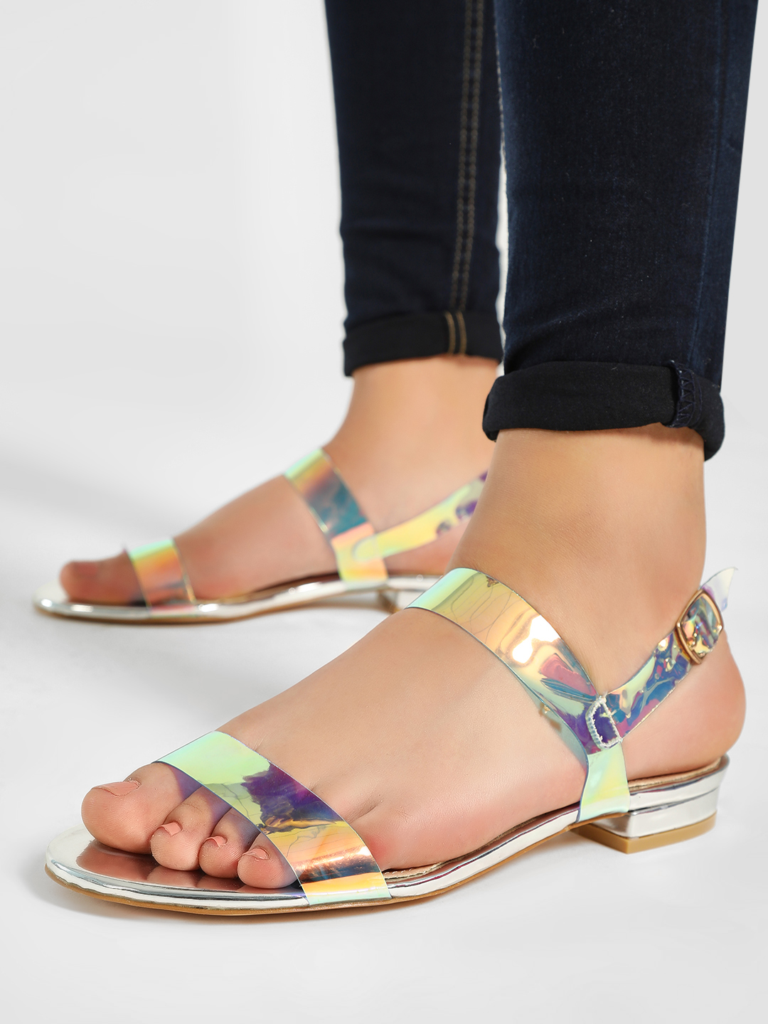 My Foot Couture Multi Holographic Strap Flat Sandals 1