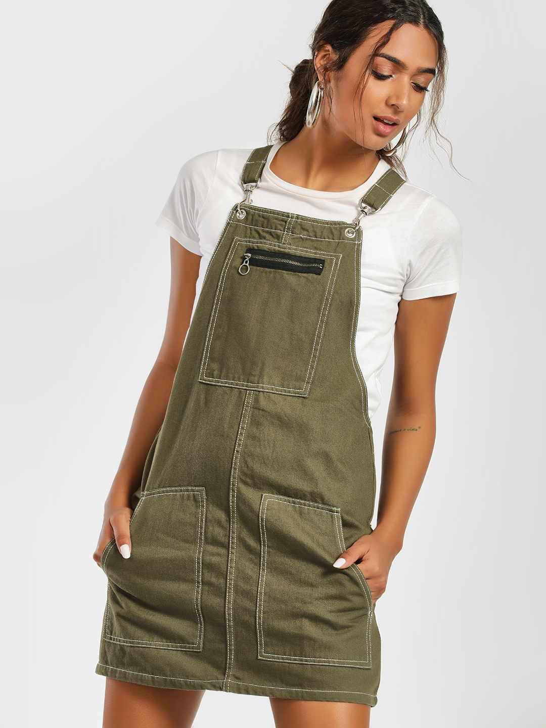 K Denim Green KOOVS Denim Pinafore Dungaree Dress 1