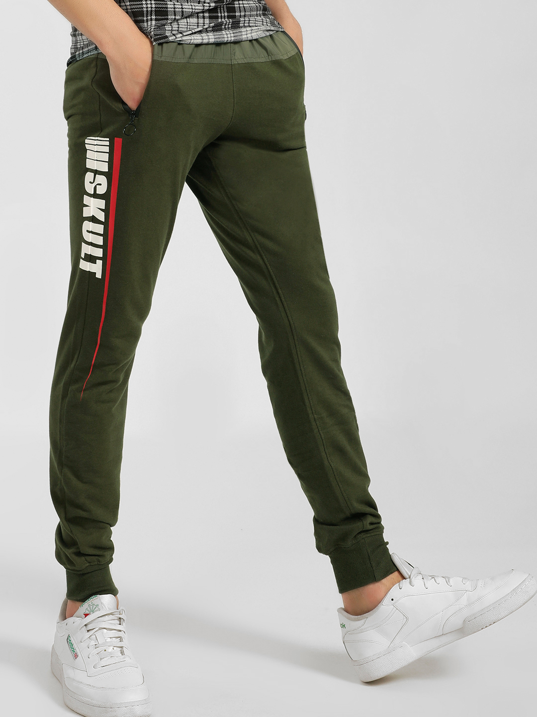SKULT By Shahid Kapoor Green Text Side Tape Joggers 1