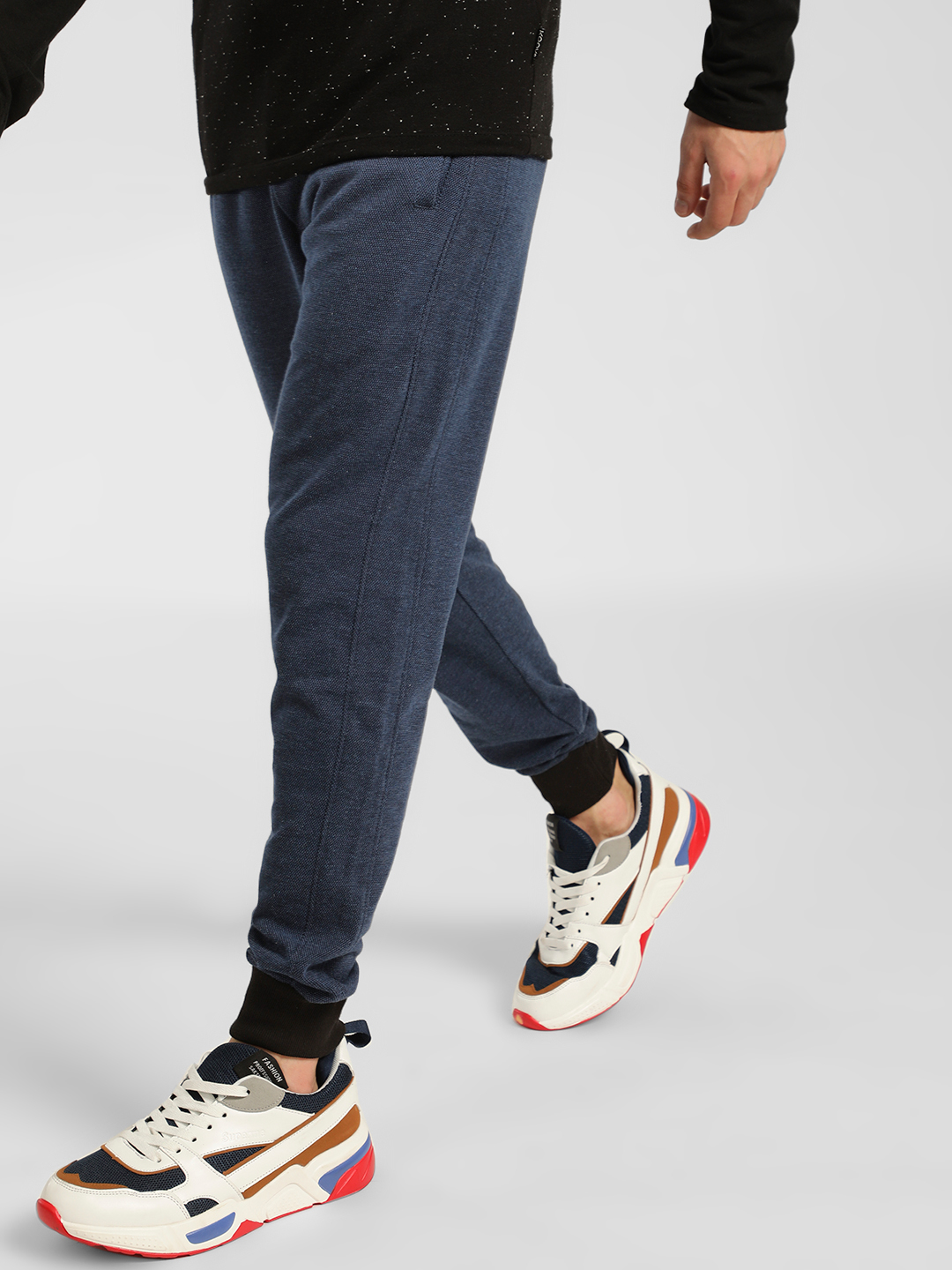 SKULT By Shahid Kapoor Navy Contrast Panel Knitted Joggers 1