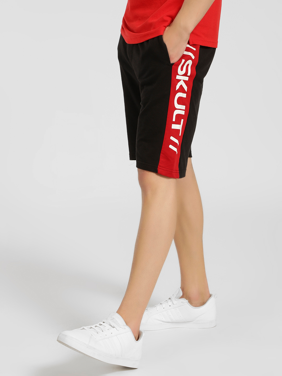 SKULT By Shahid Kapoor Multi Text Side Tape Shorts 1