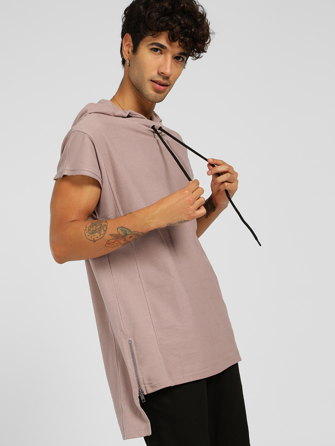 SKULT By Shahid Kapoor Purple High-Low Cap Sleeve Hoodie 1