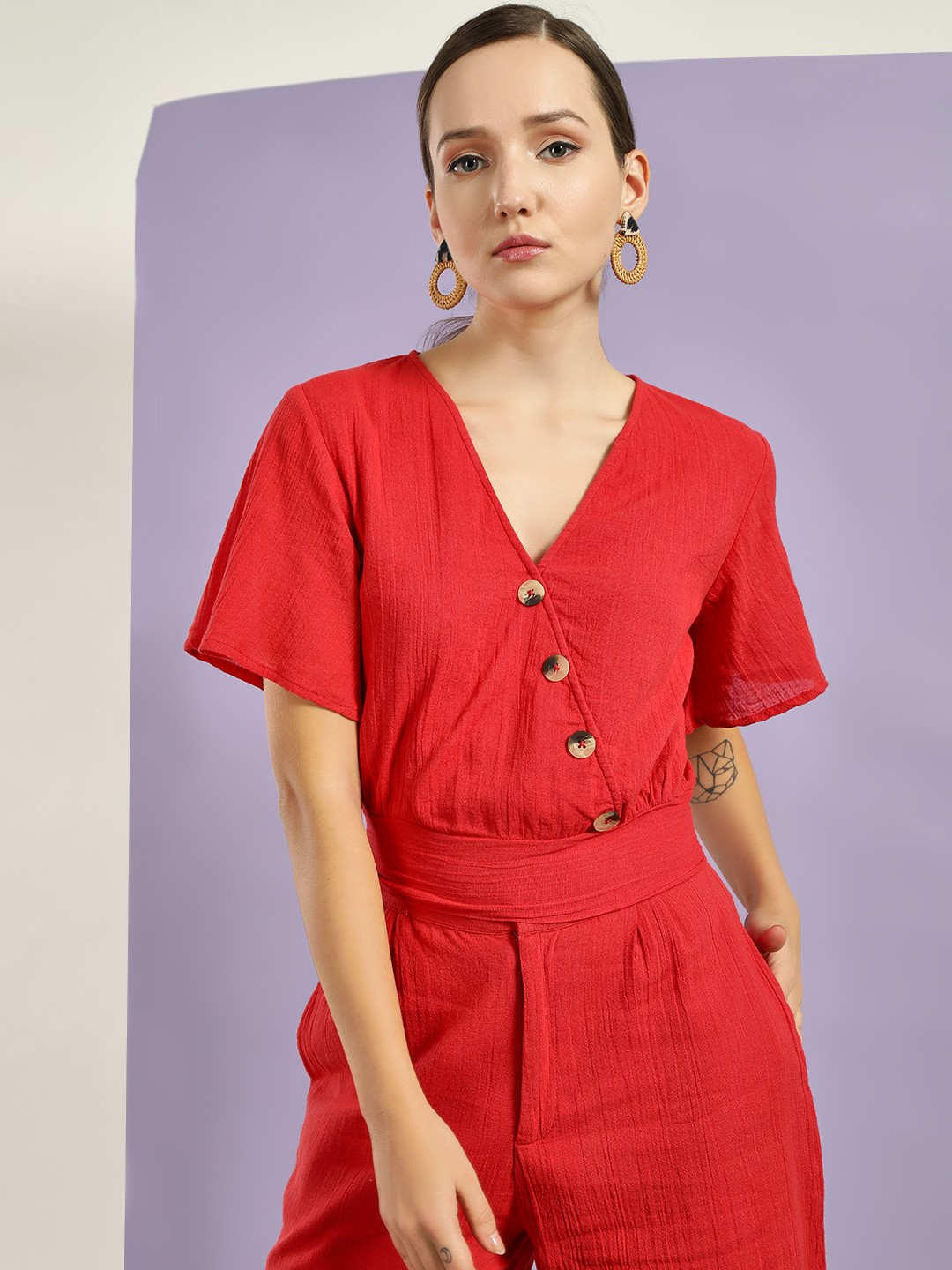 KOOVS Red Buttoned Wrap Crop Top 1