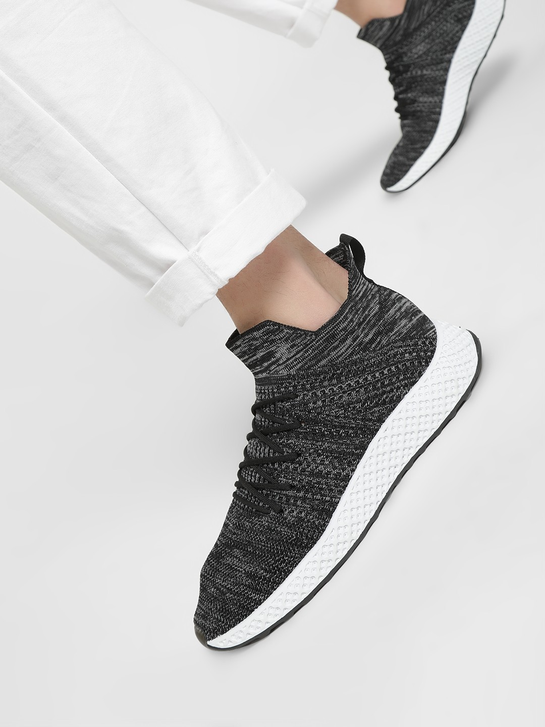 KOOVS Grey Double Knit Sockliner Sneakers 1