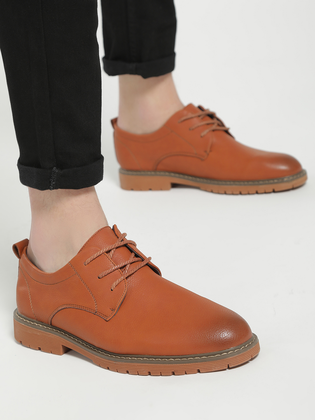 KOOVS Brown Cleated Sole Derby Formal Shoes 1