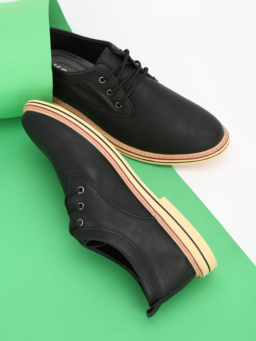 KOOVS Black Cleated Sole Derby Formal Shoes 1