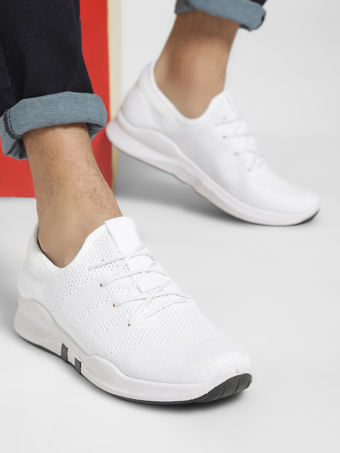 KOOVS White Knitted Trainers 1