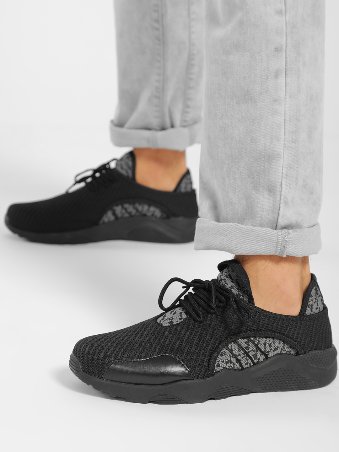 KOOVS Black Textured Contrast Panel Trainers 1