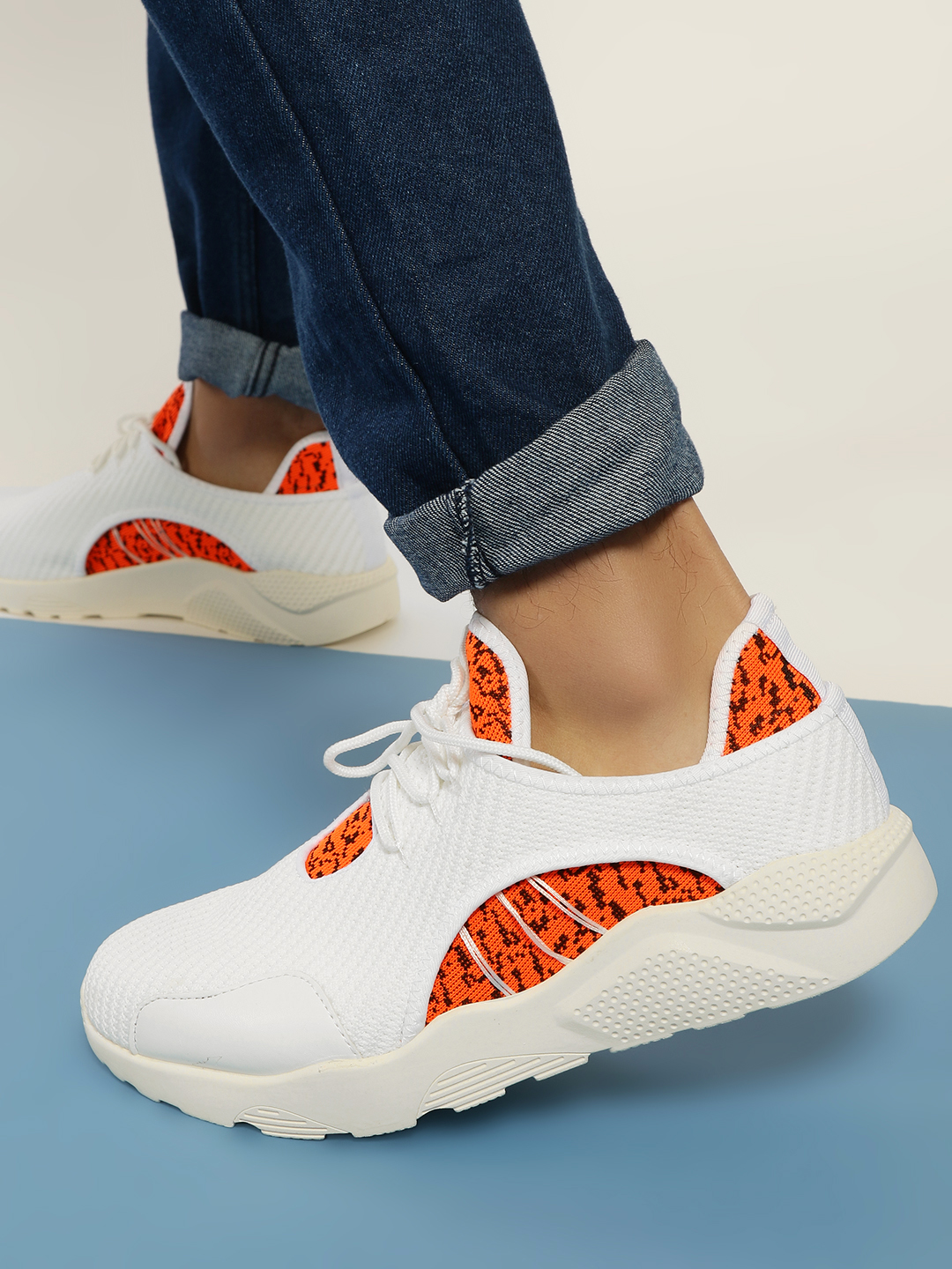 KOOVS White Textured Contrast Panel Trainers 1