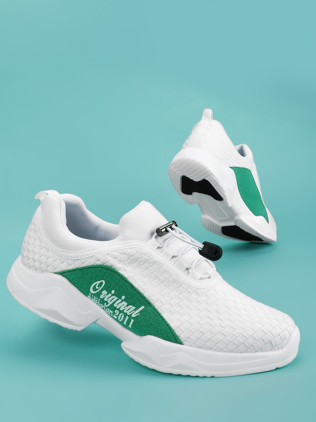 KOOVS White Contrast Suede Panel Trainers 1