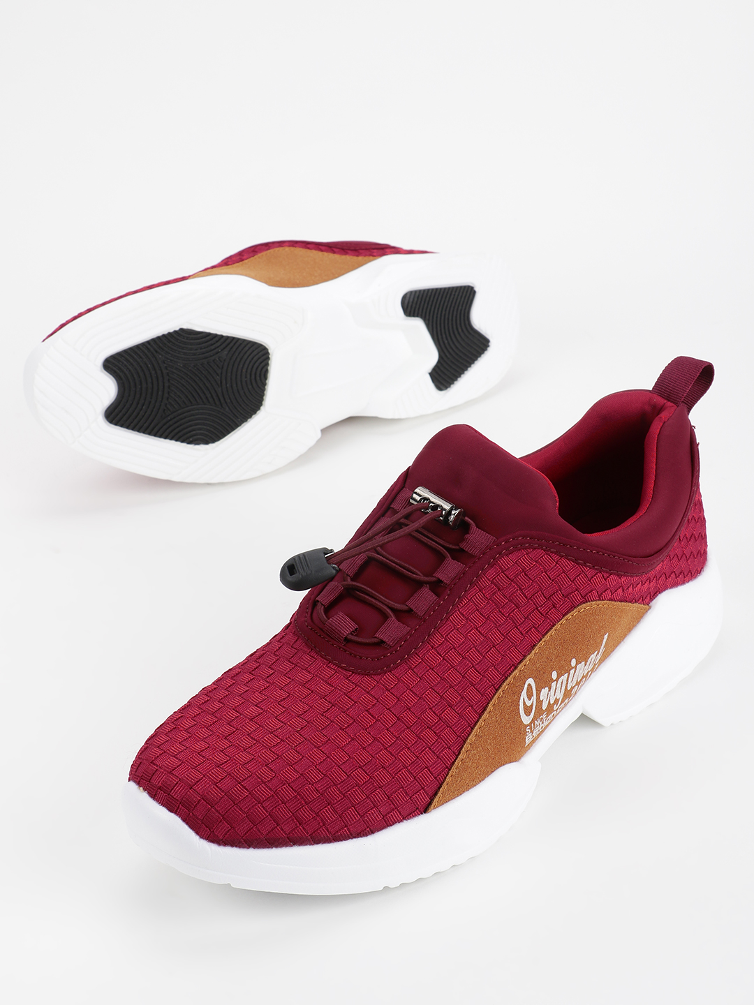 KOOVS Red Contrast Suede Panel Trainers 1