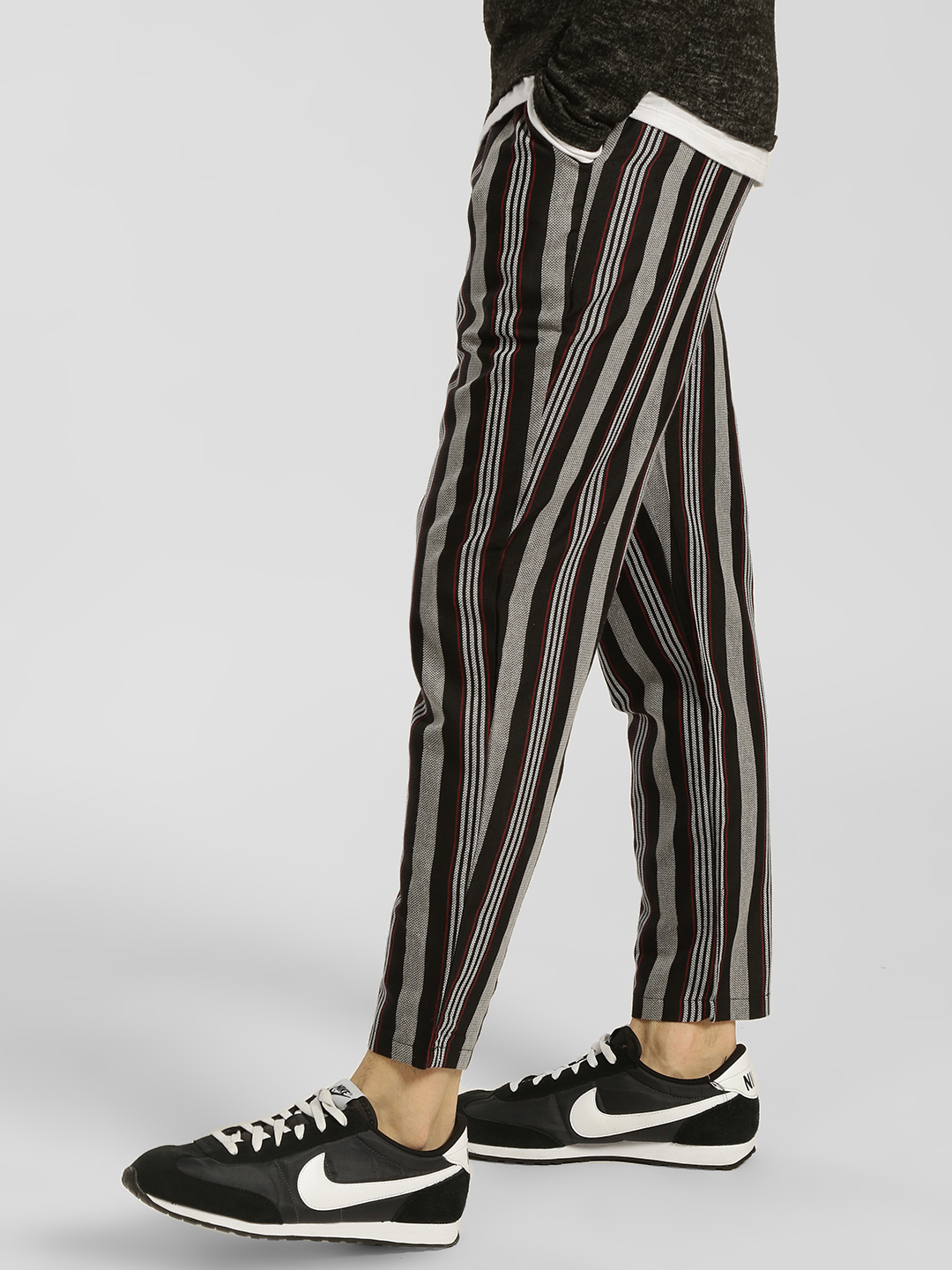 Fighting Fame Black Vertical Stripe Drawcord Slim Trousers 1