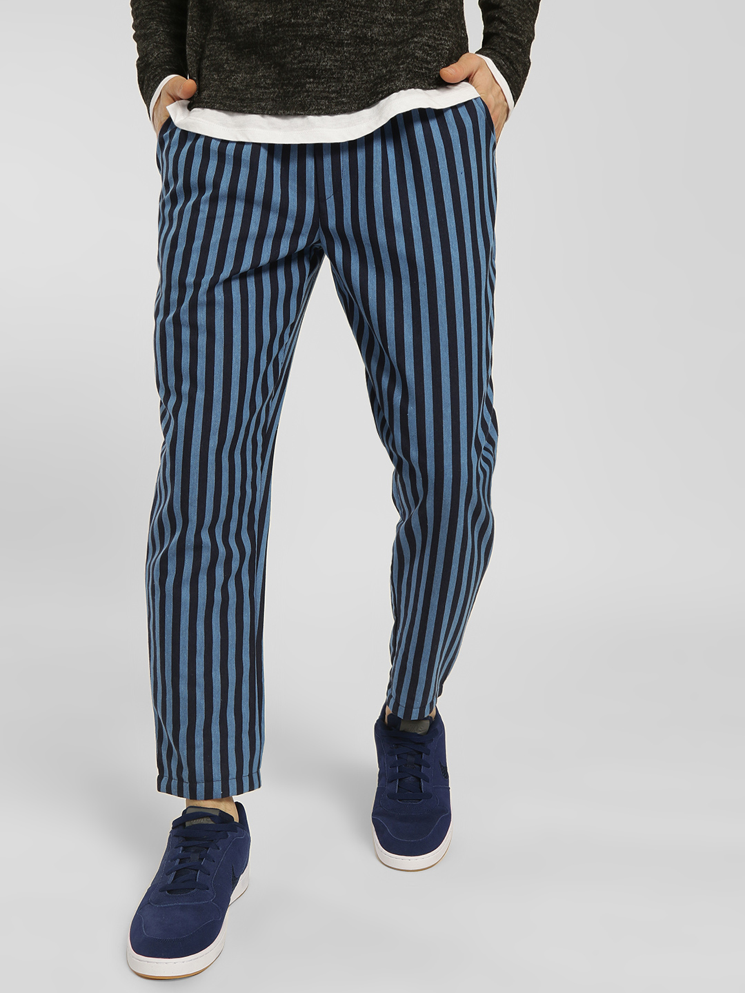 Fighting Fame Blue Vertical Stripe Drawcord Slim Trousers 1