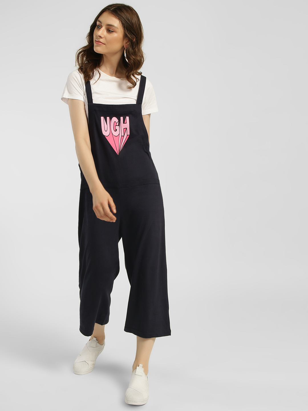 Spring Break Navy Ugh Print Cropped Dungarees 1