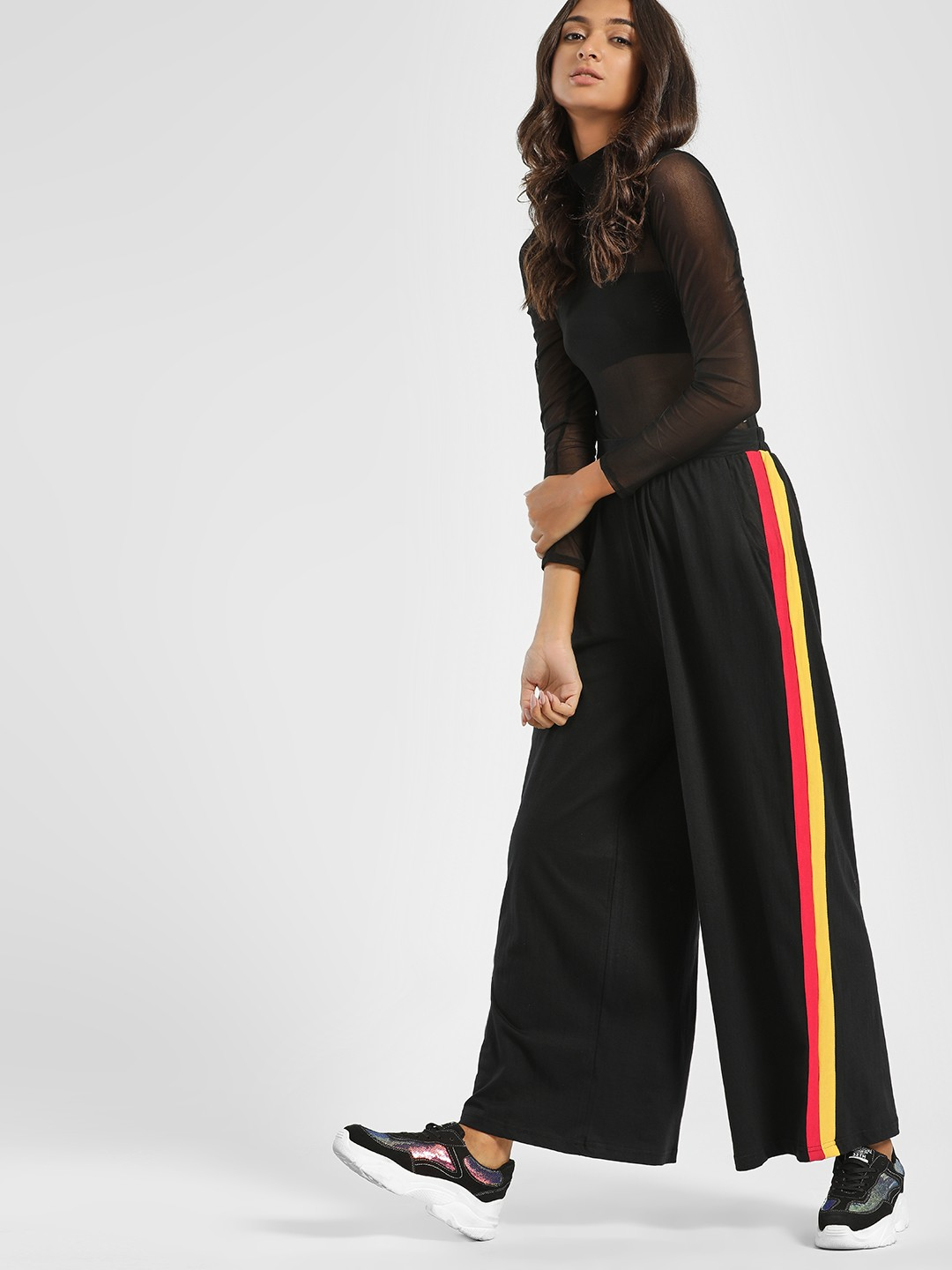 Spring Break Black Contrast Side Stripe Palazzo Pants 1
