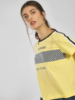 Only Checkerboard Slogan Print Crop T-Shirt
