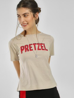 Only Pretzel Print Back Split T-Shirt