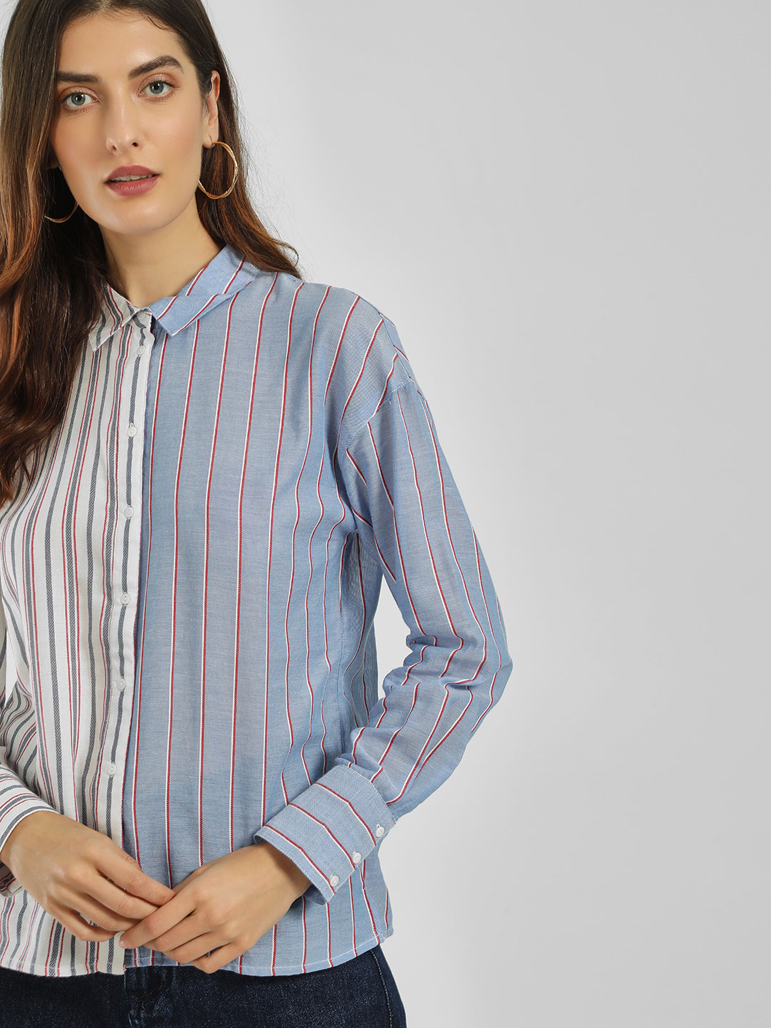 Only White Colour Block Striped Shirt 1