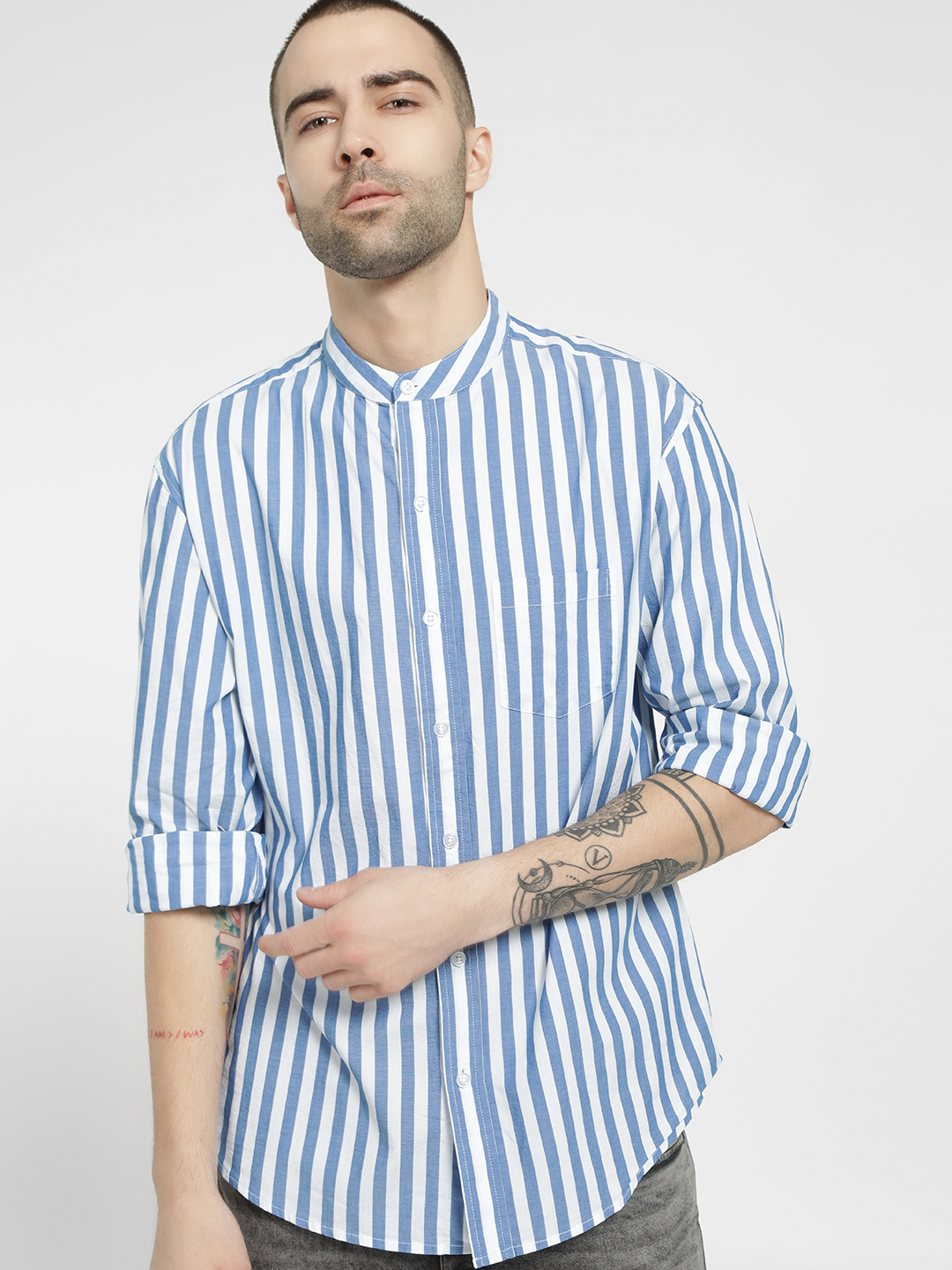 Spring Break Multi Vertical Stripe Casual Shirt 1