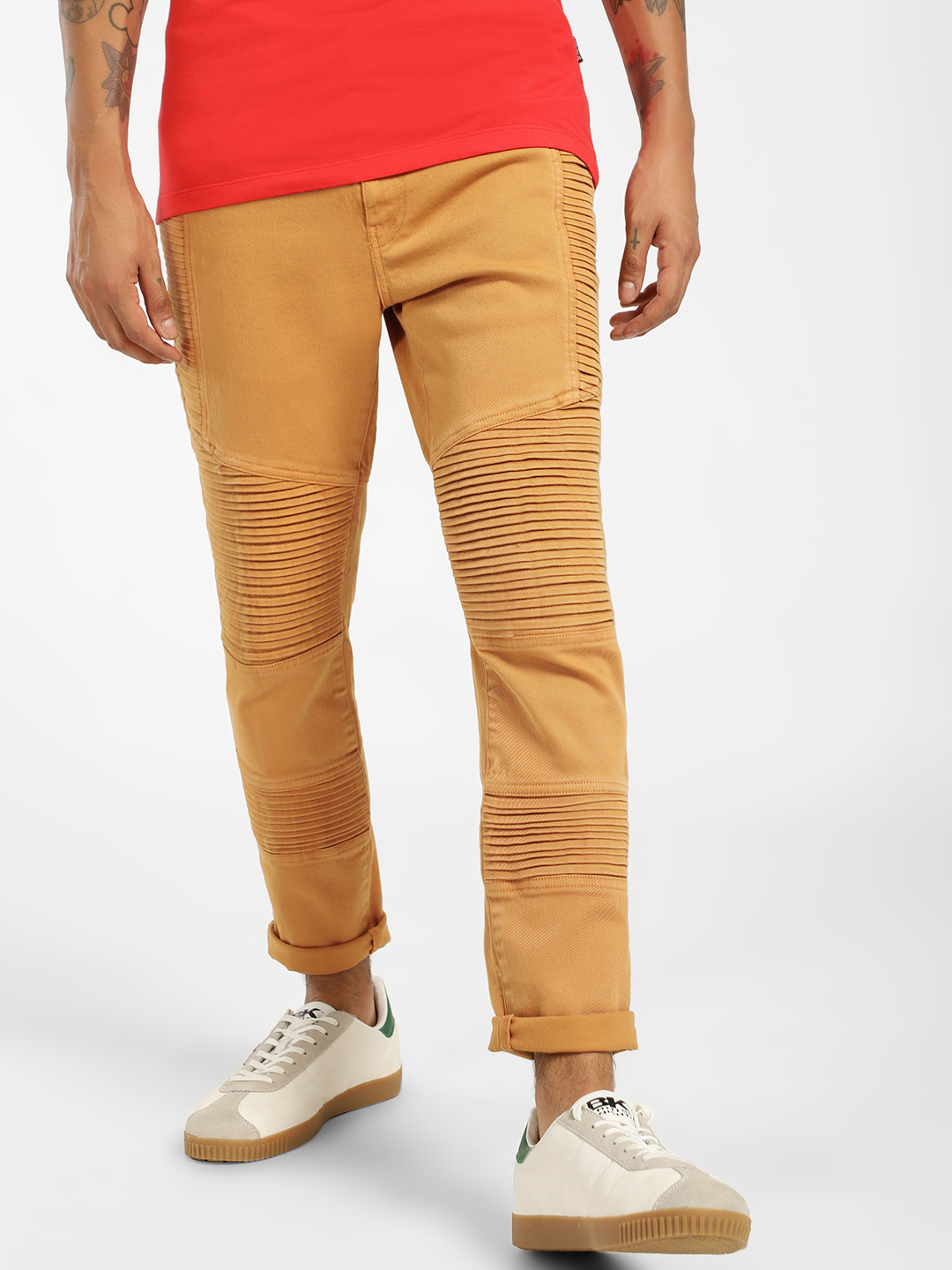 Blue Saint Yellow Overdyed Biker Panel Chinos 1