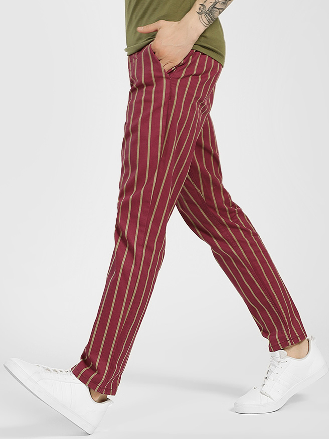 Blue Saint Maroon Vertical Stripe Trousers 1