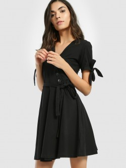 KOOVS Basic Wrap Skater Dress