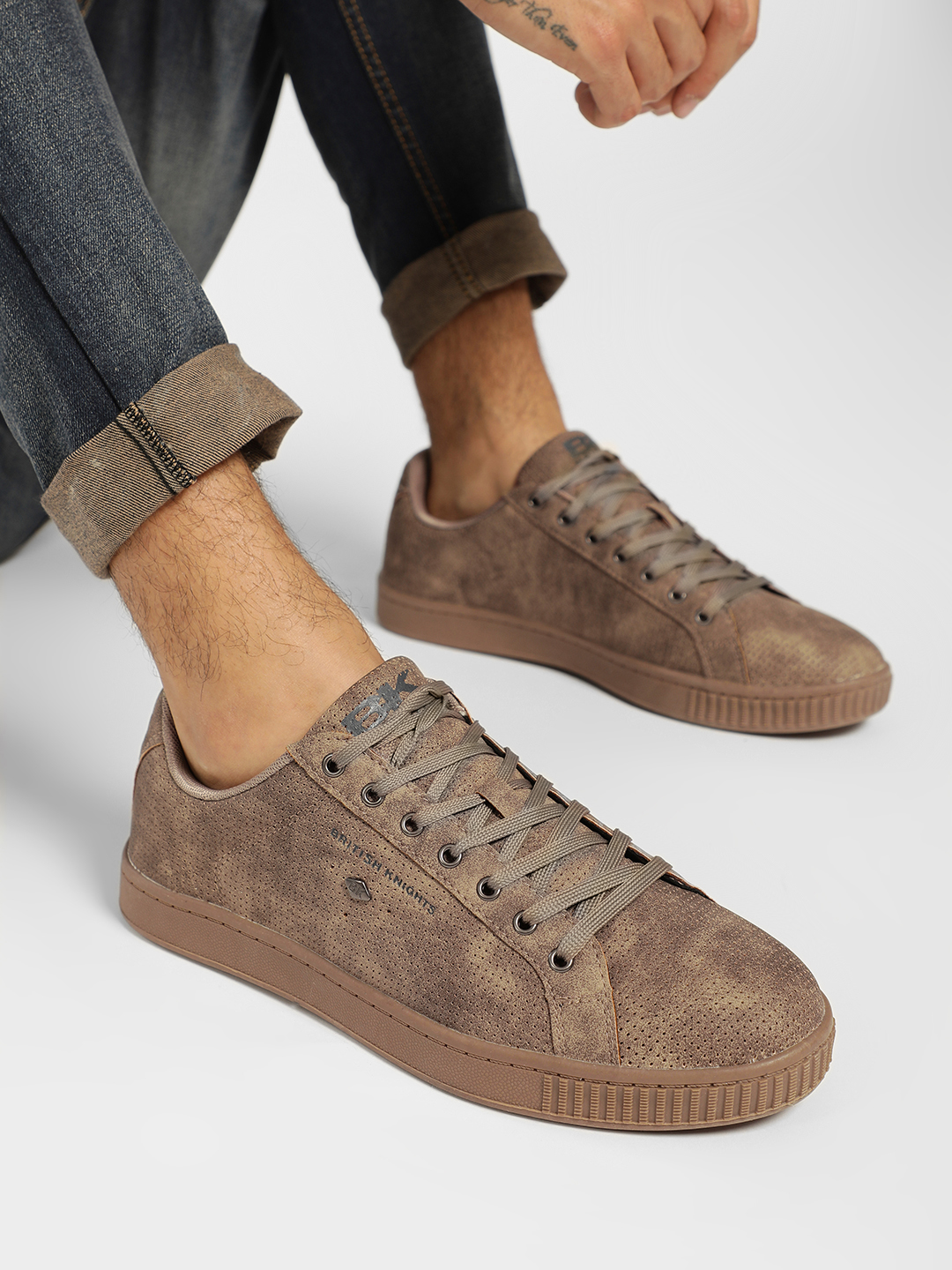 BRITISH KNIGHTS Beige Perforated Lace-Up Sneakers 1