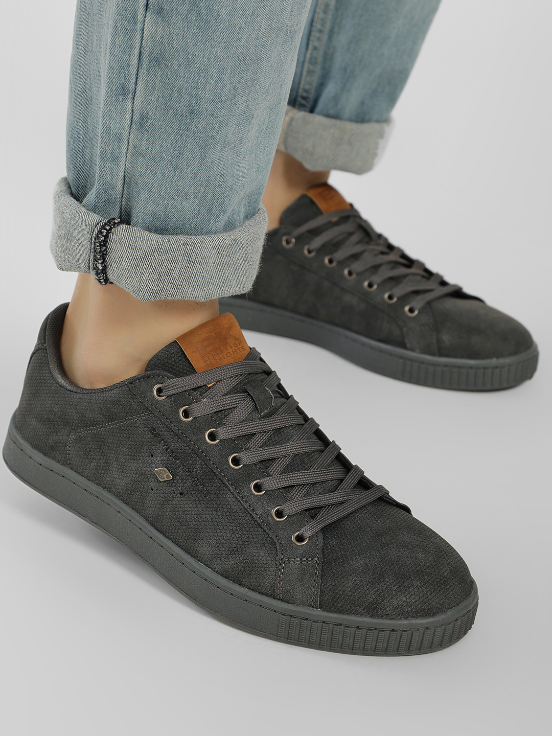 BRITISH KNIGHTS Grey Basic Textured Sneakers 1