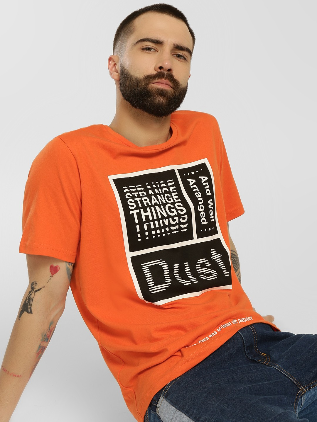 Cant Find My Knees Orange Slogan Placement Print T-Shirt 1