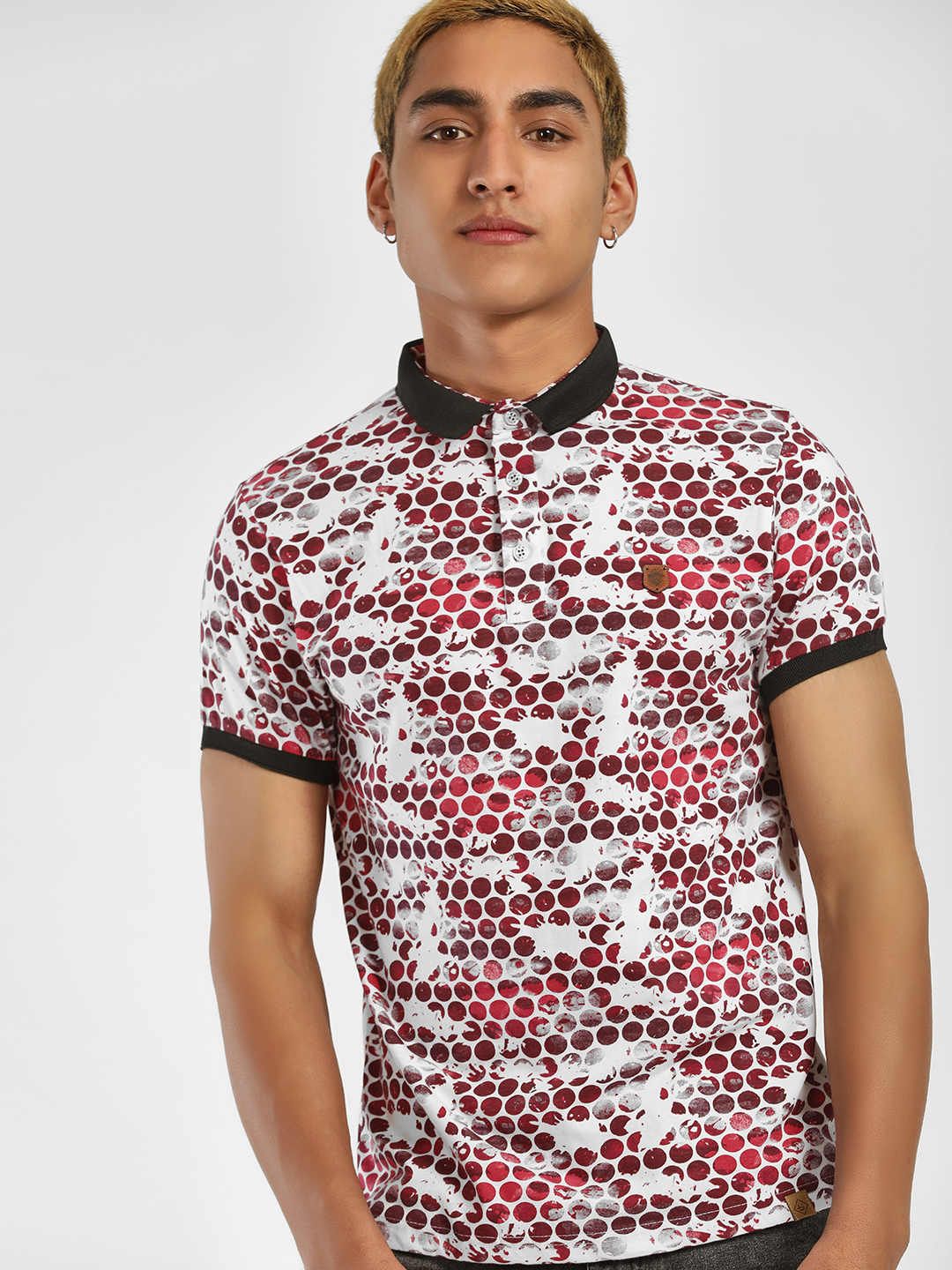 Blotch Red Circle Print Polo Shirt 1