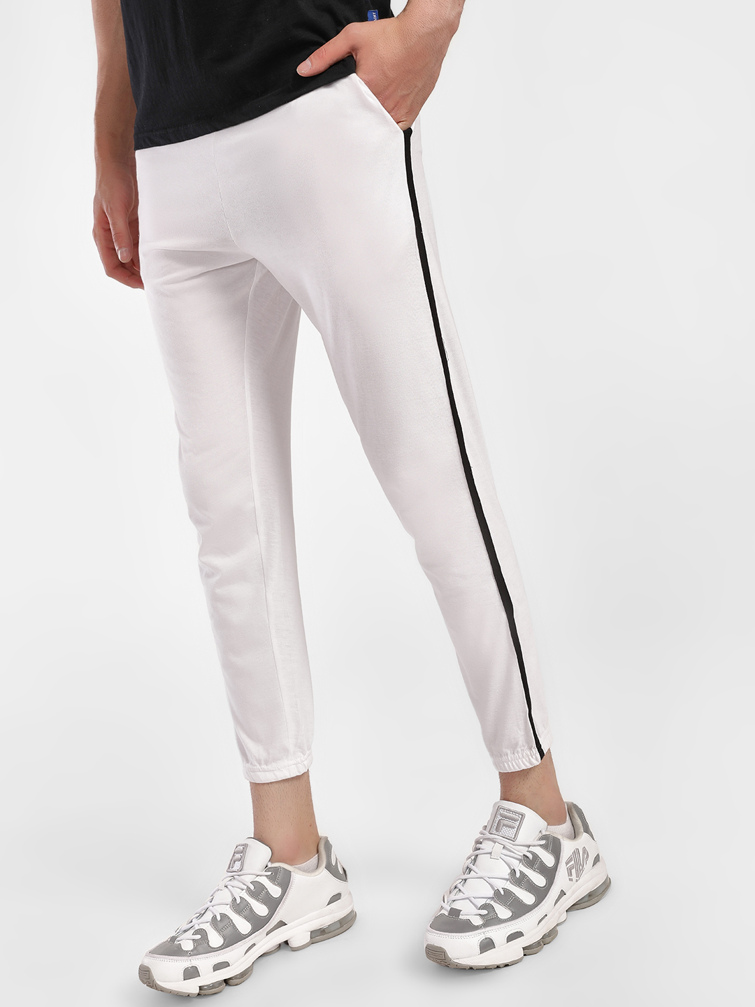 Blotch White Contrast Side Tape Slim Joggers 1