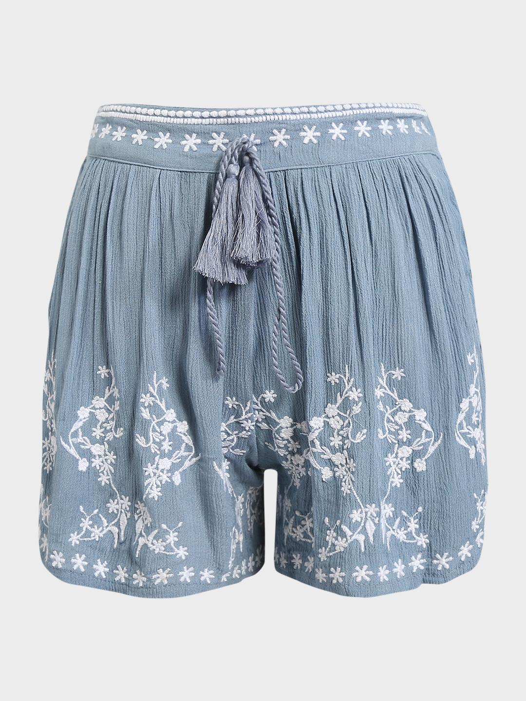 KOOVS Blue Floral Embroidered Pleated Shorts 1